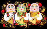 Three russian dolls on hohloma background