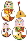 Russian dolls and balalaika on a white background