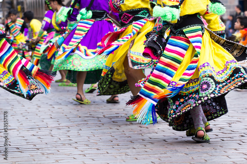 Foto op Canvas Zuid-Amerika land Peruvian dancers at the parade in Cusco.