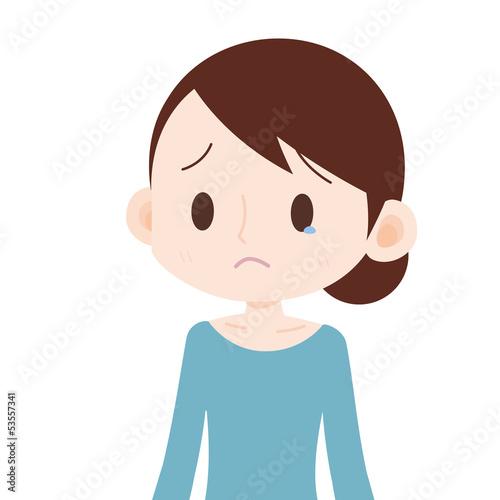 涙目の女性 上半身