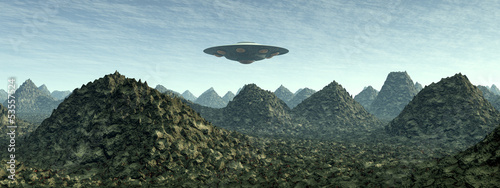 Alien Planet with Alien Spaceship