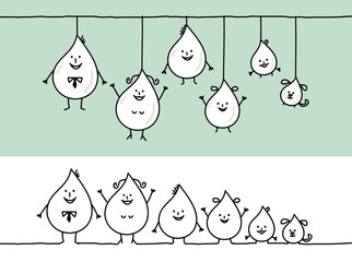 funny family & water drops