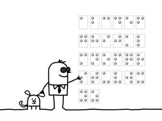 blind man reading Braille alphabet