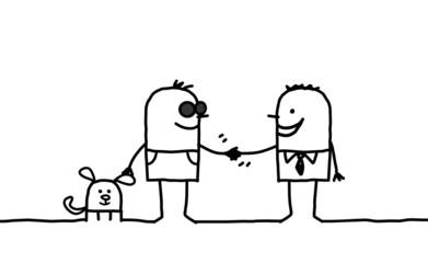 blind man handshaking with friend