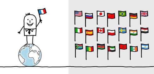 man & world flags