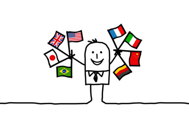 businessman & flags