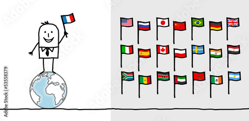 man & world flags