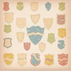 retro labels shields