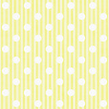 Yellow and White Polka Dot and Stripes Fabric Background