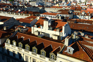 Tiled Roofs of Lisbon at sunset, Portugal