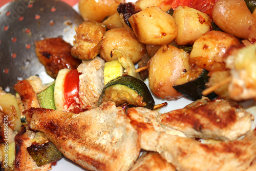 Grilled meal and vegetables