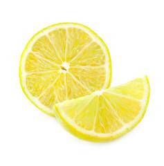 Fresh lemon slice, Isolated on white background