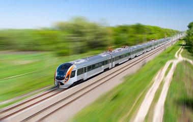 Modern hi-speed passenger train in Ukraine