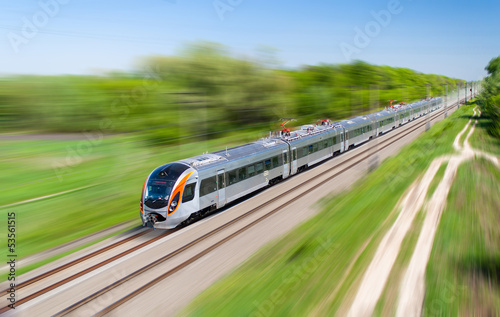 Modern hi-speed passenger train in Ukraine