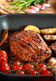 Delicious steak with grilled vegetable