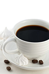 Good morning concept with cup of natural black arabica coffee