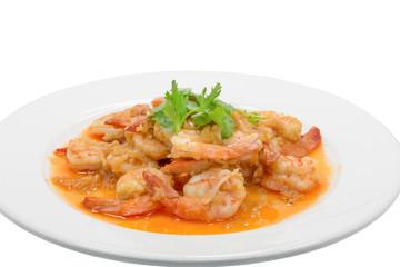 fried shrimp with garlic on white dish