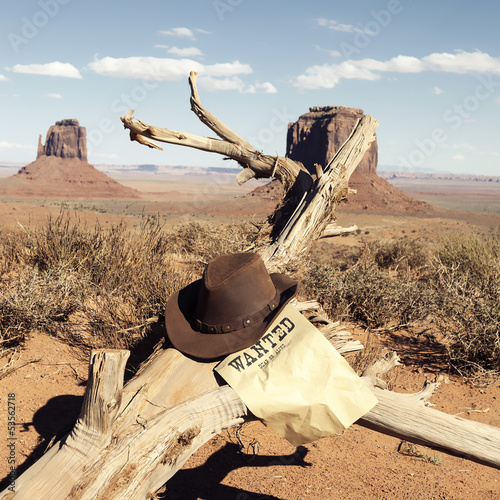 Brown cowboy hat in front of Monument Valley