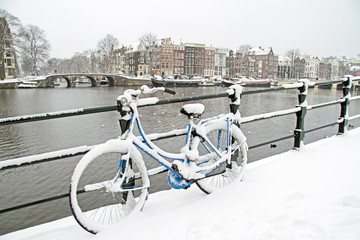 Bicycle in Amsterdam the Netherlands in winter