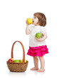 baby eating apples from basket over white background