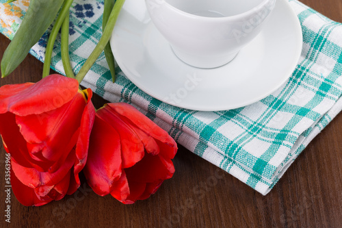 towel, mug, flower