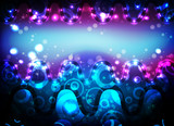 Neon bright blue horizontal background