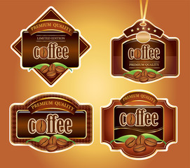 set of different luxury coffee labels