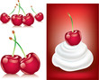 red fresh cherry with cream