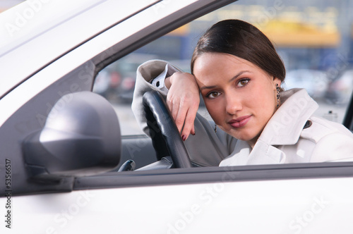 woman in car