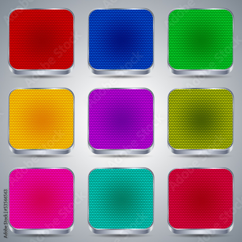 Metallic buttons vector set