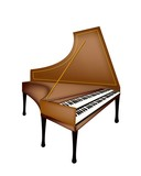 A Retro Harpsichord Isolated on White Background