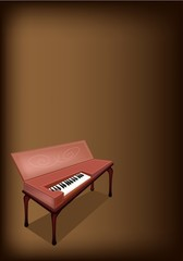 A Retro Clavichord on Dark Brown Background