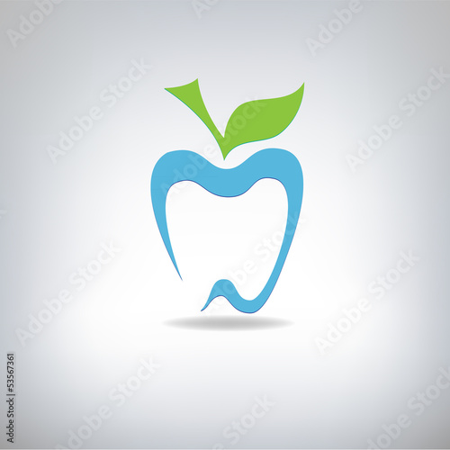 silhouette of a tooth in the form of an apple