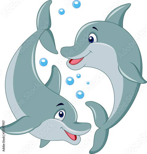 Cute dolphin couple cartoon