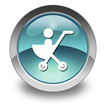 "Light Blue Glossy Pictogram ""Stroller / Baby Transport"""
