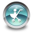 "Light Blue Glossy Pictogram ""Stroller / Baby Transport"""