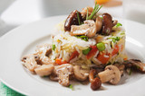 Risotto with button mushrooms and vegetables