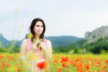 brunette in field
