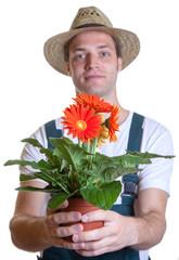 Gärtner mit Blume