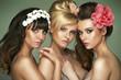 Three fantastic half-naked girlfriends