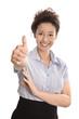 Lachende Geschäftsfrau mit Daumen isoliert
