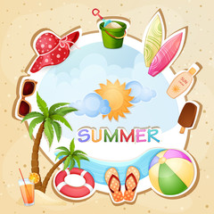 Summer holiday illustration with palm trees