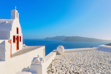 Greece famous Santorini island in Cyclades, panoramic view of tr