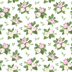 Vector seamless pattern with rose buds and leaves on white.