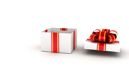 Gift box with red ribbons opened  with alpha chanell