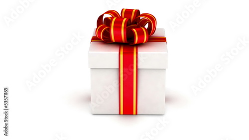 Gift box with red ribbons rotated on white background