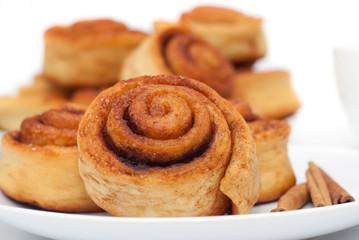 Cinnamon rolls group, selective focus