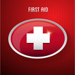First aid medical button sign isolated