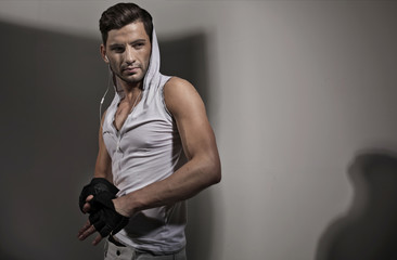 Handsome athletic guy with serious look
