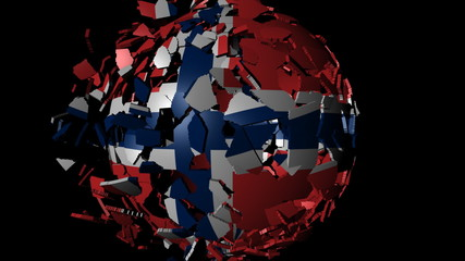 Norway flag sphere combining and breaking apart animation